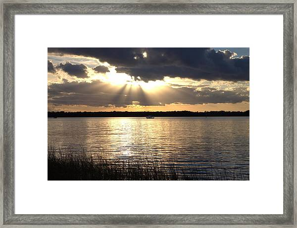 Sunset On The Cape Fear River Framed Print