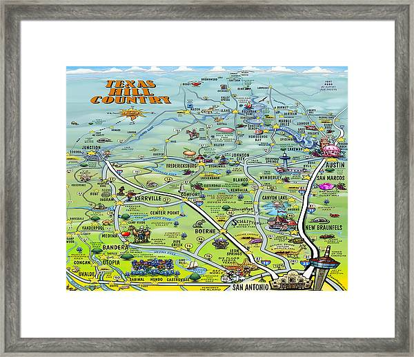 Texas Hill Country Cartoon Map Framed Print