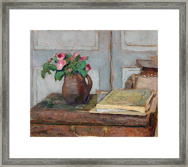The Artist's Paint Box And Moss Roses Framed Print