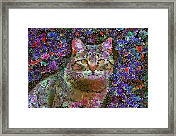 The Cat Who Loved Flowers 2 Framed Print