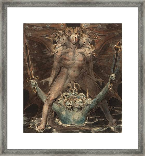 The Great Red Dragon And The Beast From The Sea Framed Print