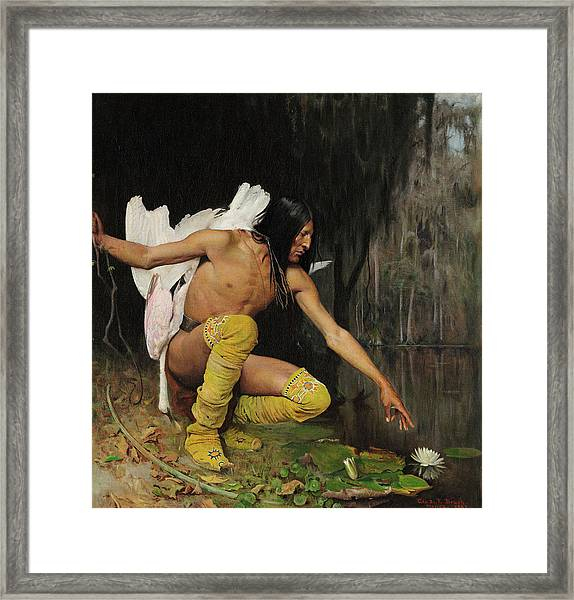 The Indian And The Lily Framed Print