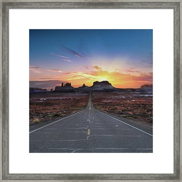 The Long Road To Monument Valley Framed Print