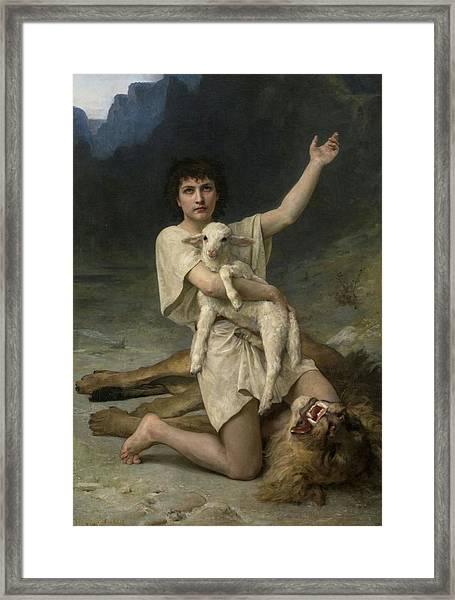 The Shepherd David Triumphant Framed Print