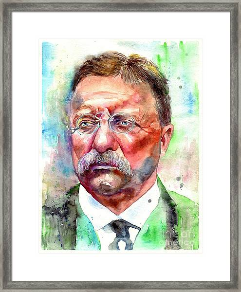 Theodore Roosevelt Watercolor Portrait Framed Print