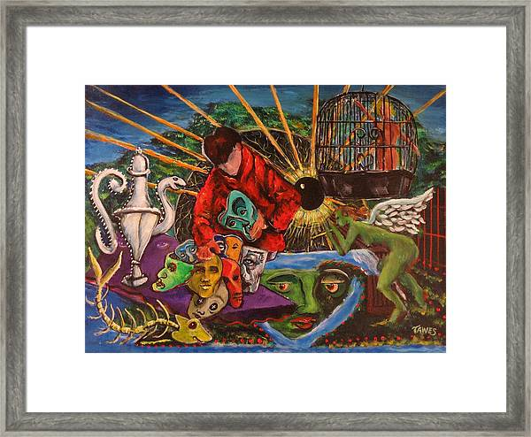 Trading Faces At The Cosmic Yard Sale Framed Print