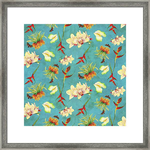 Tropical Island Floral Half Drop Pattern Framed Print
