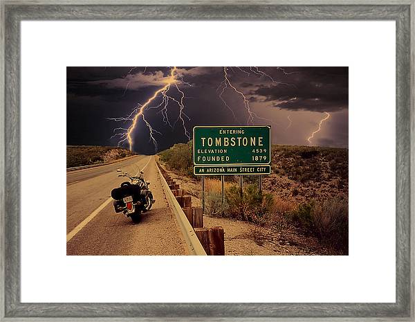 Trouble In Tombstone Framed Print