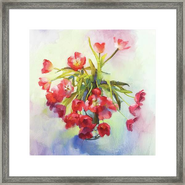 Tulip Fling Framed Print by Cathy Locke