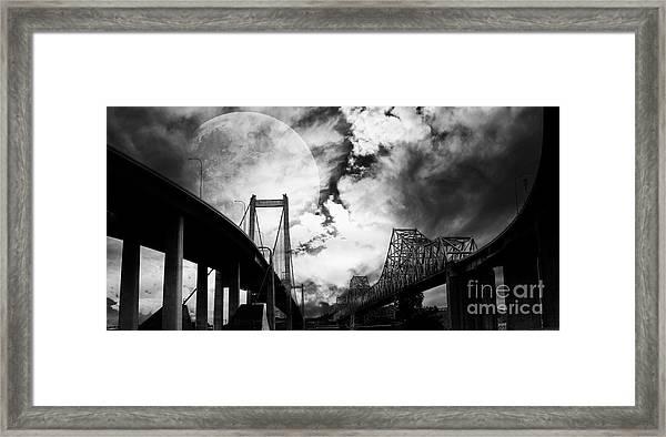 Two Bridges One Moon Framed Print