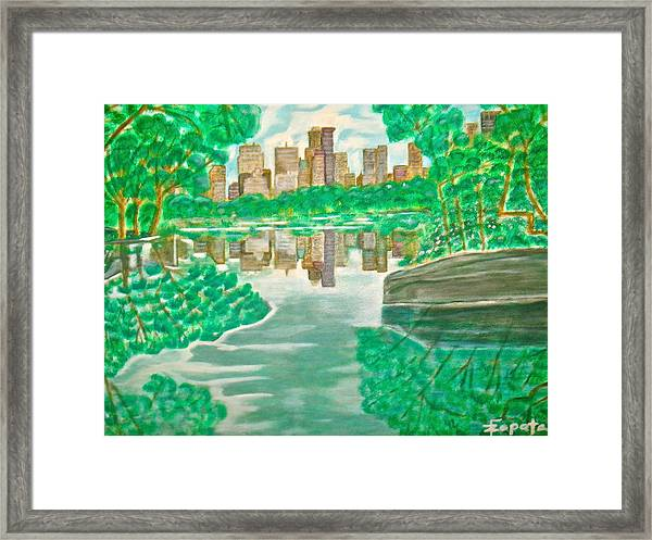 View From Oak Bridge Central Park Framed Print