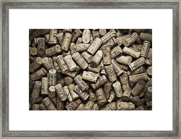 Vintage Wine Corks Framed Print