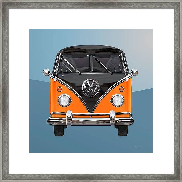 Volkswagen Type 2 - Black And Orange Volkswagen T 1 Samba Bus Over Blue Framed Print