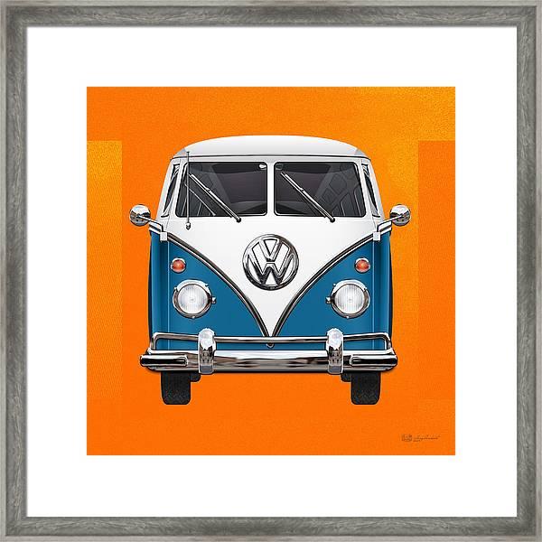 Volkswagen Type 2 - Blue And White Volkswagen T 1 Samba Bus Over Orange Canvas  Framed Print