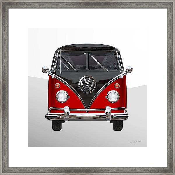 Volkswagen Type 2 - Red And Black Volkswagen T 1 Samba Bus On White  Framed Print