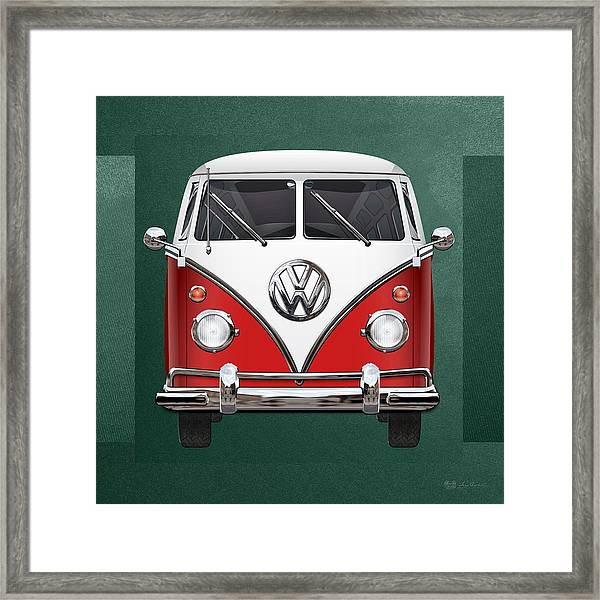 Volkswagen Type 2 - Red And White Volkswagen T 1 Samba Bus Over Green Canvas  Framed Print
