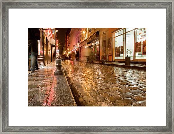 Wet Paris Street Framed Print