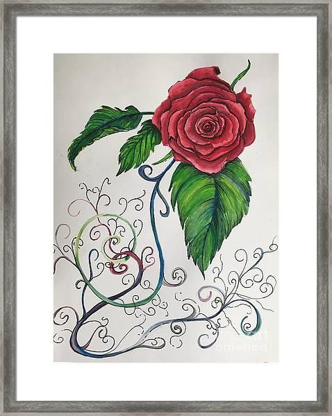 Whimsical Red Rose Framed Print