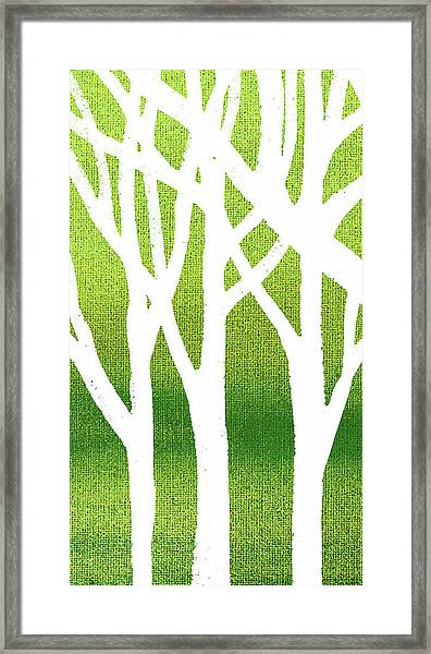 White Abstract Forest Green Background Triptych A 1of3  Framed Print