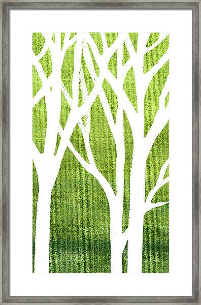 White Abstract Forest Green Background Triptych A 3of3  Framed Print