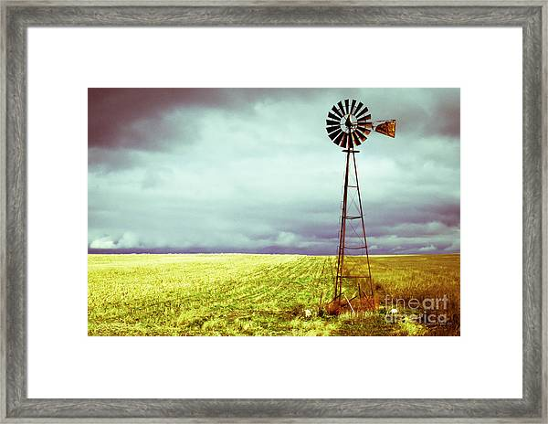 Windmill Against Autumn Sky Framed Print
