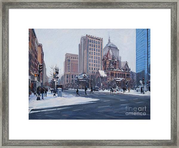 Winter In Copley Square, Boston Ma Framed Print