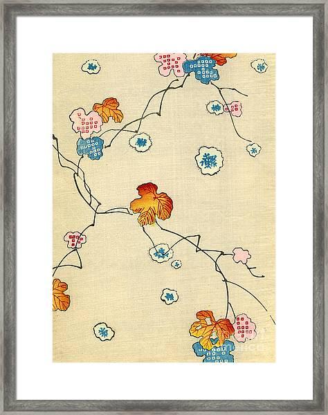 Woodblock Print Of Fall Leaves Framed Print
