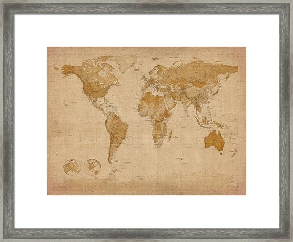 World Map Antique Style Framed Print