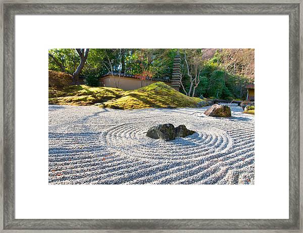 Zen Garden At A Sunny Morning Framed Print