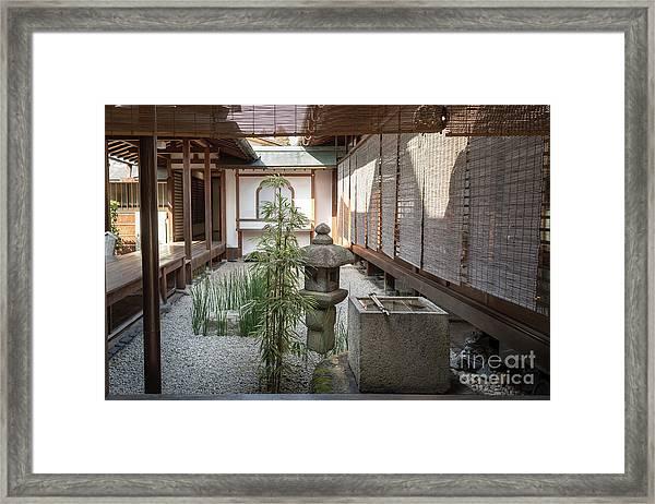 Zen Garden, Kyoto Japan Framed Print