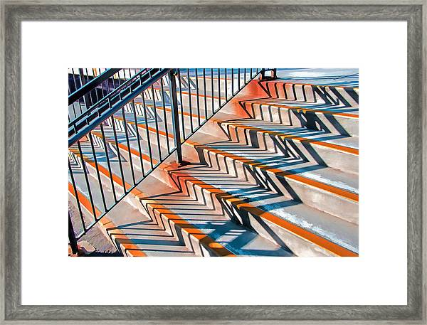 Zig Zag Shadows On Train Station Steps Framed Print