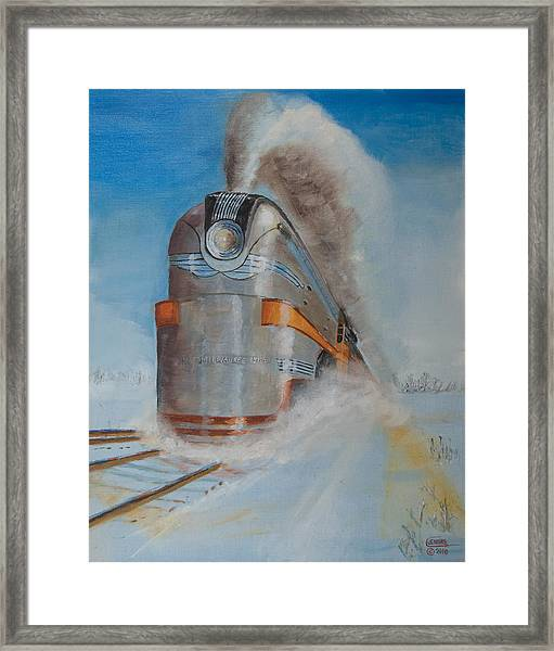 104 Mph In The Snow Framed Print
