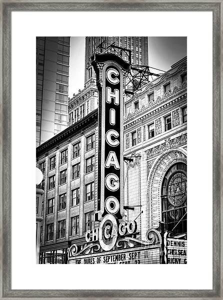 1077 Chicago Theater Black And White Framed Print