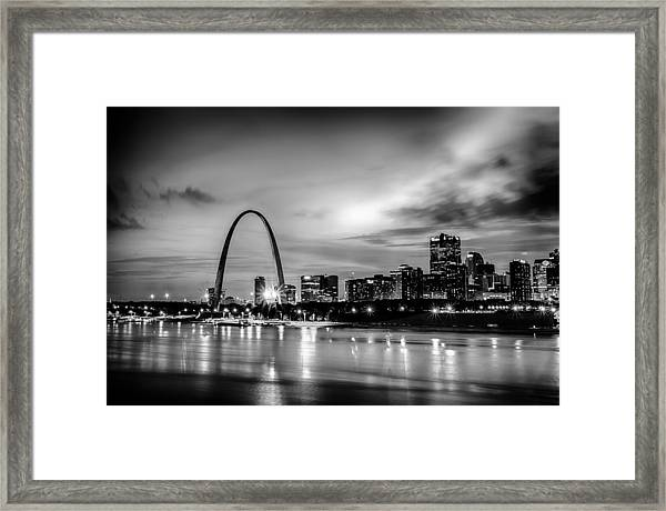 City Of St. Louis Skyline. Image Of St. Louis Downtown With Gate Framed Print
