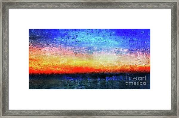 15a Abstract Seascape Sunrise Painting Digital Framed Print