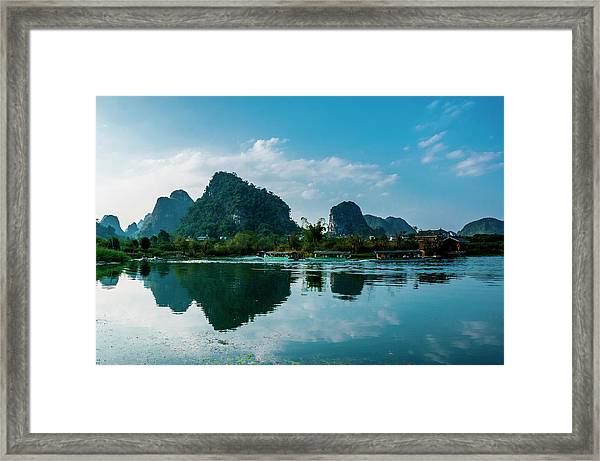 The Karst Mountains And River Scenery Framed Print