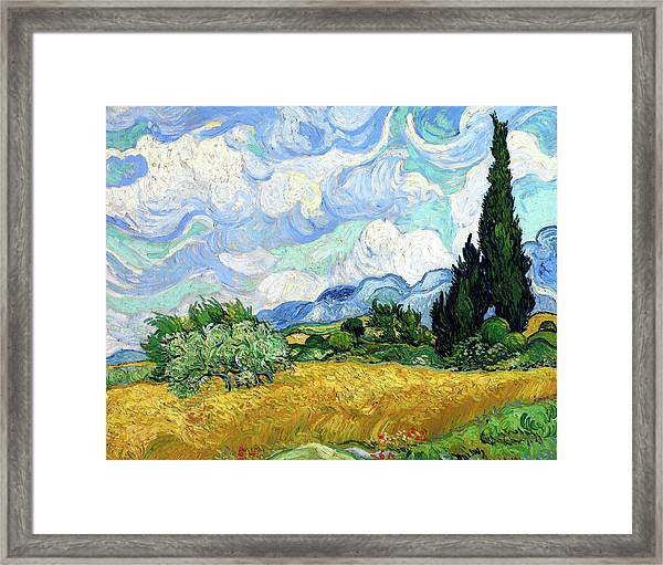 Wheat Field With Cypresses Framed Print
