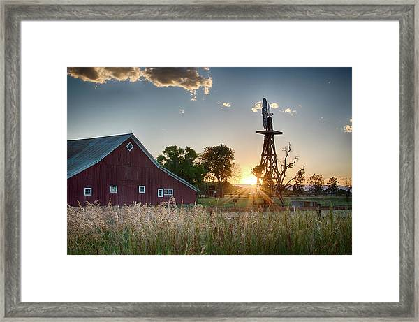 17 Mile House Farm - Sunset Framed Print