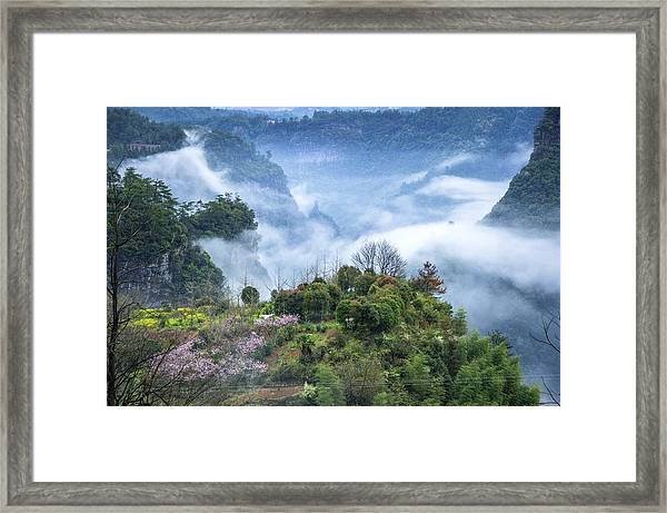 Mountains Scenery In The Mist Framed Print