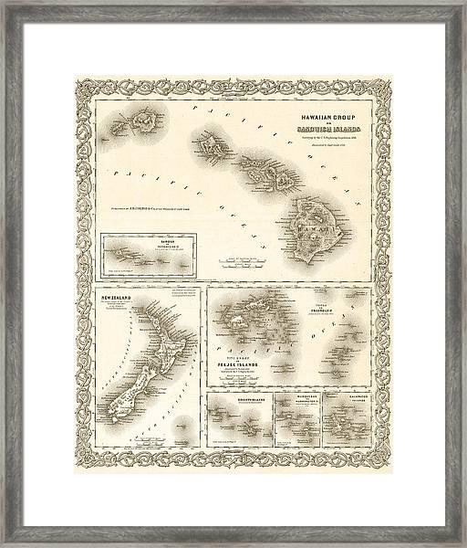 1841 Map Of The Hawaiian Islands Fiji Islands New Zealand 1800s Map Sepia Framed Print