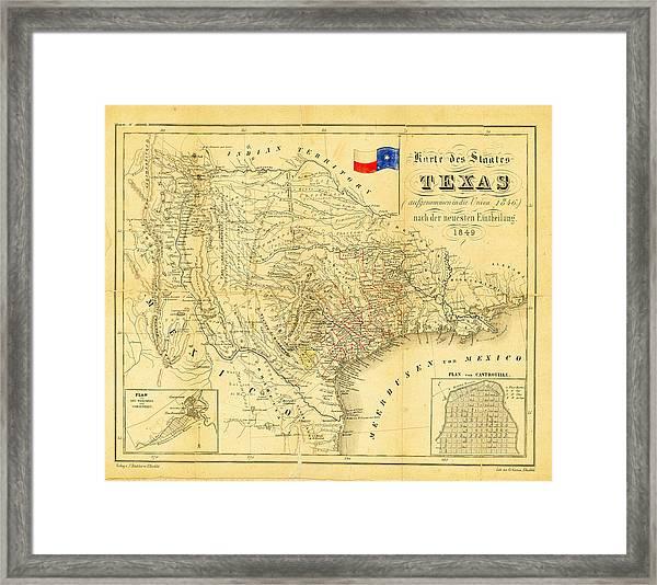 1849 Texas Map Framed Print