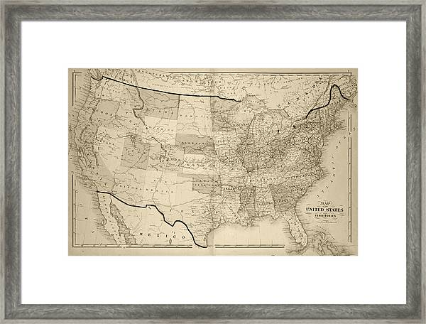 1876 Map Of The United States Sepia Framed Print