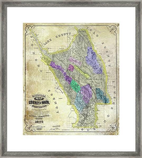 1876 Napa Valley Map Framed Print
