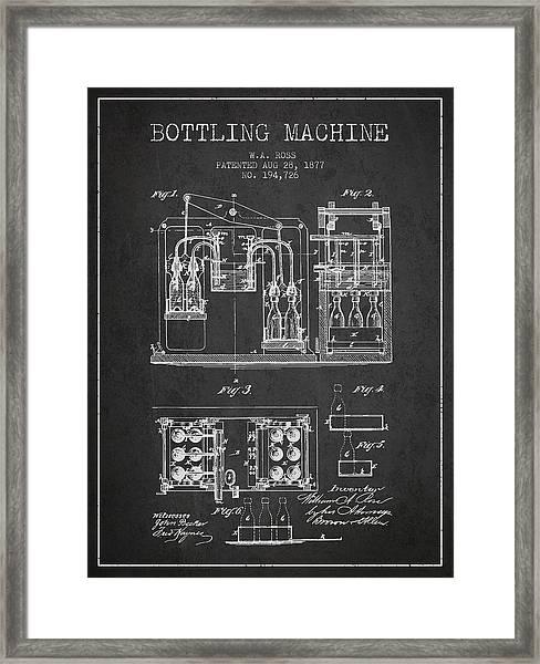 1877 Bottling Machine Patent - Charcoal Framed Print