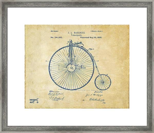 1881 Velocipede Bicycle Patent Artwork - Vintage Framed Print