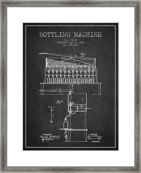 1884 Bottling Machine Patent - Charcoal Framed Print