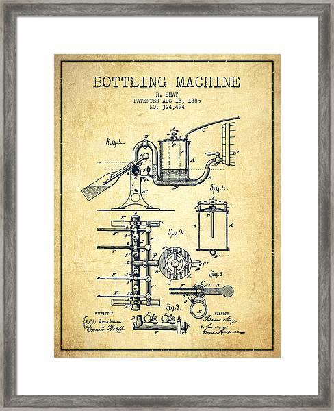 1885 Bottling Machine Patent - Vintage Framed Print