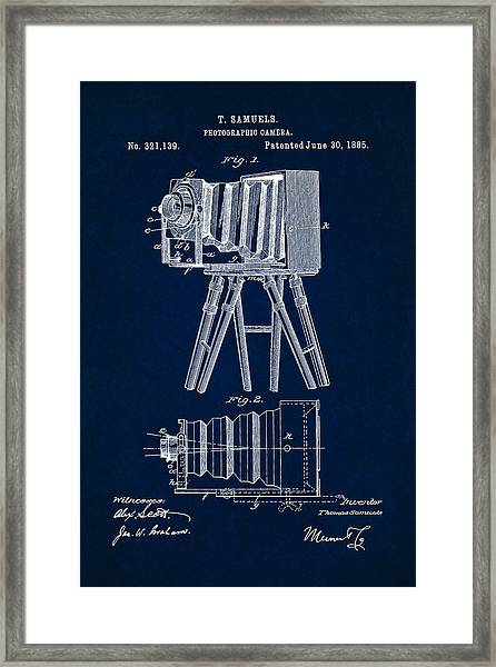 1885 Camera Us Patent Invention Drawing - Dark Blue Framed Print