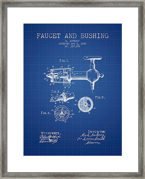 1886 Faucet And Bushing Patent - Blueprint Framed Print