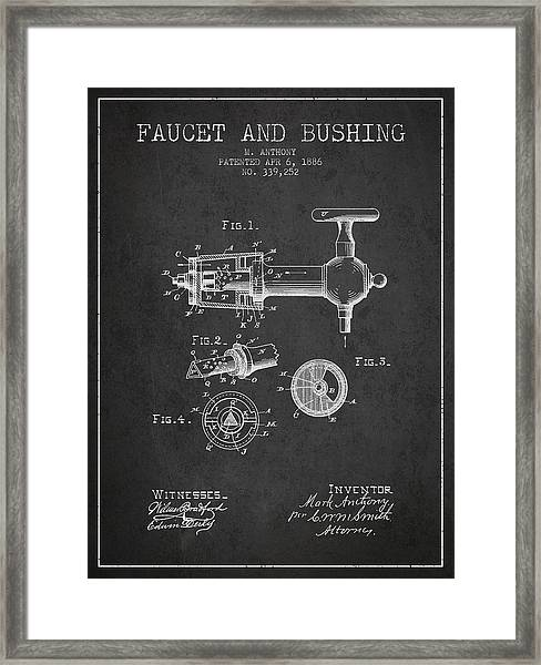 1886 Faucet And Bushing Patent - Charcoal Framed Print